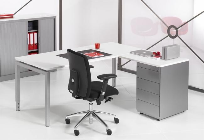 4ql1845l l bureau met ladenblok 4q alu 180x160cm timmer for Ladenblok op bureau