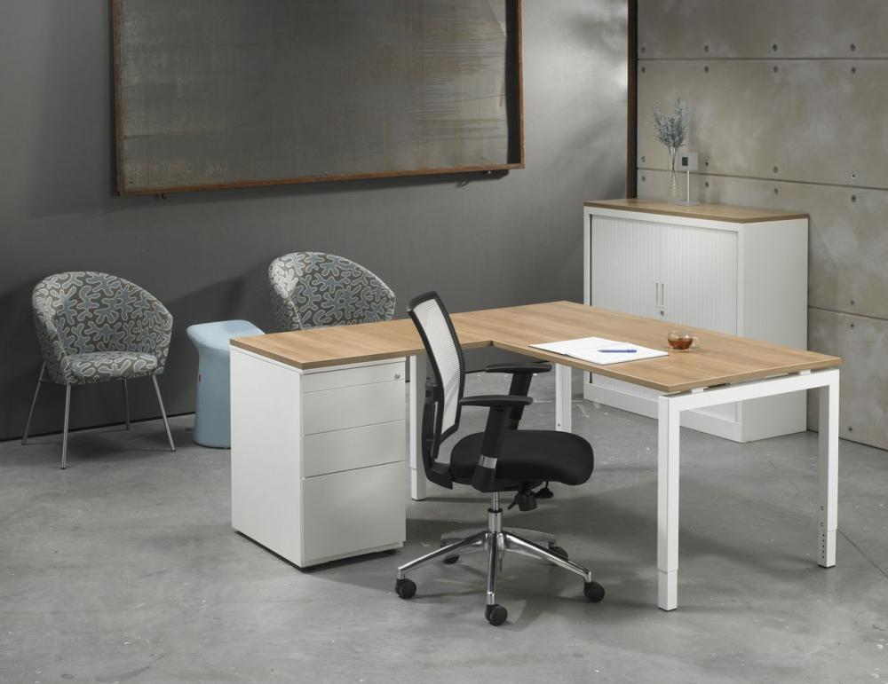 4ql1845w l bureau met ladenblok 4q white 180x160cm for Ladenblok op bureau